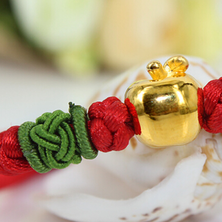 Pure Hand woven String 999 3D 24K Yellow gold Apple Bracelet wooden breads hand woven wrap bracelet