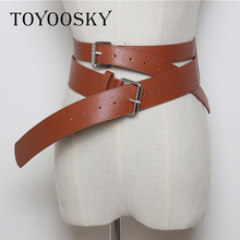 Cool tide Women Gothic Punk Belt for Rock Hip-hop with Two Buckle Waist Double Belts Ins Second Cowskin TOYOOSKY