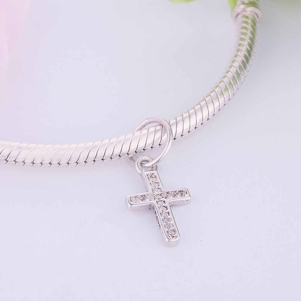 4d11a3a6b ... Fits Original Pandora Charms Bracelet 925 Sterling Silver Dangle Bead  Cross Clear Crystal Charm Women DIY ...