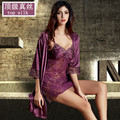 Top Luxury 2016 Women Robe Sexy Lace Silk Robe Gown Sets Deep V-neck Night Dress Sleepwear Pyjamas Bathrobe Bridesmaid Robes