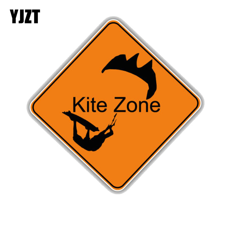 YJZT 12.7CM*12.7CM Funny Waterproof Kite Zone Sign PVC Car Sticker  11-00037