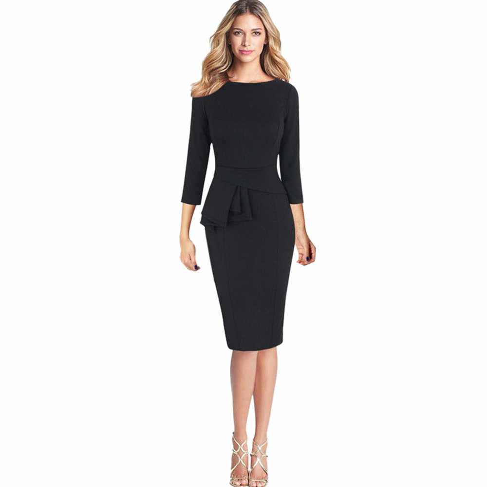d6f85fce310 Для женщин Элегантный Бизнес наряд офисное платье жабо баски 3 4 платье  рукава работы Бизнес