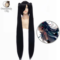 100cm Vocaloid Zatsune Miku Straight Long Black Ponytail Wig Cosplay Costume Synthetic Hair Perucas High Temperature Fiber