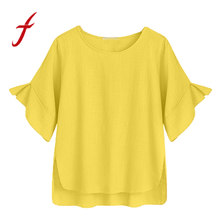 New Womens Tops FeiTong 2019 Women Summer Solid Color Plus Size Ruffle Short Sleeve Casual Shirt Black Wine Navy Yellow O-Neck(China)