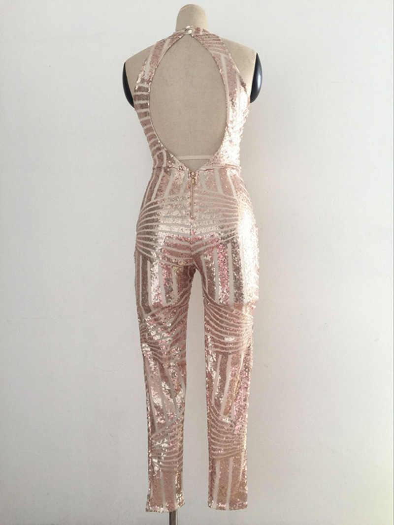 Beyprern блестящая линия узор Блестки Тонкий комбинезон высокого качества Подиумные блестящие ромперы с пайетками женский облегающий костюм комбинезоны