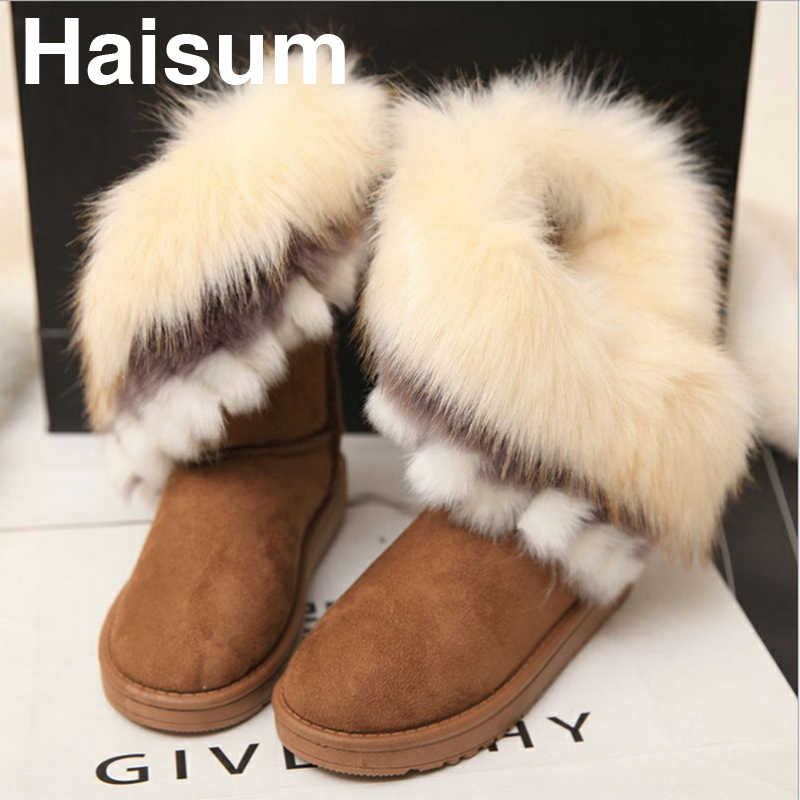 Warm Fur Women Snow Boots Cute Suede Winter Shoe Non-Slip Snow Casual Shoe  Flat  Boots Snowy Boots Y-36