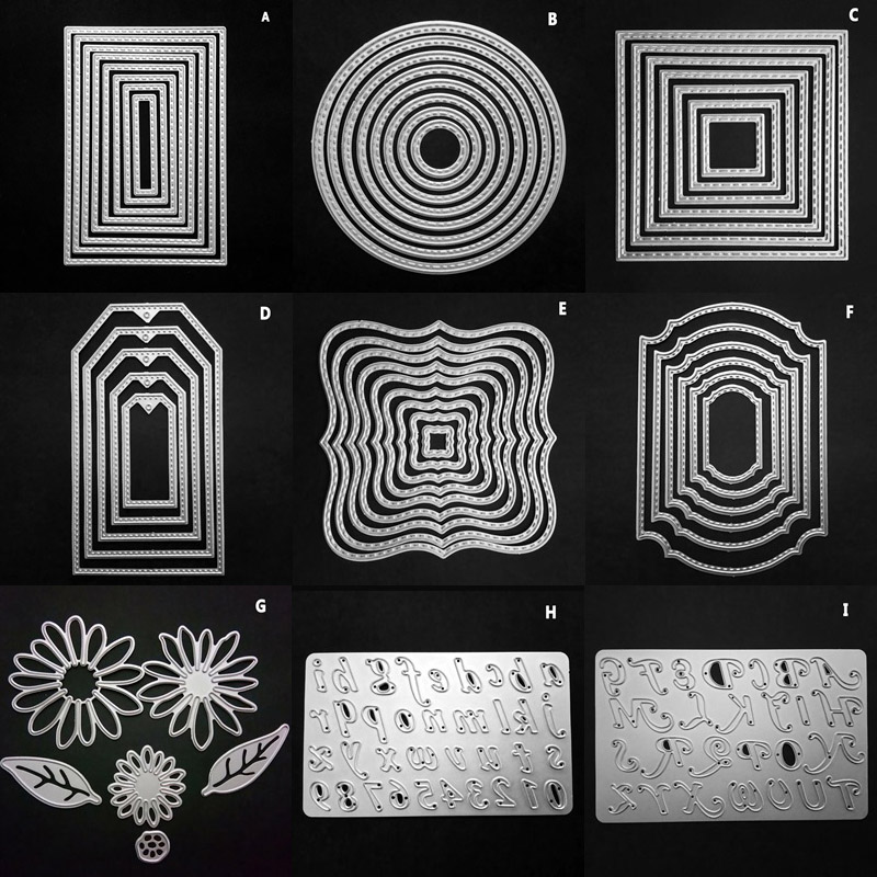 CRAFT 9 Styles Mixed Frame Stamp Metal Cutting Dies Stencils For DIY Scrapbooking/photo Album Decorative Embossing DIY Paper Car
