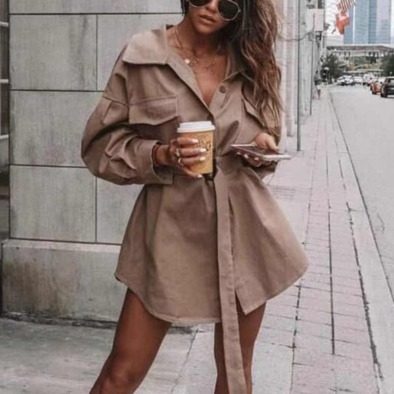 Artsnie Khaki Casual Spring 2019 Long Shirts Women Double Pockets Button Sashes Streetwear Bloues Coats Winter Loose Blusas