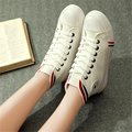 Free Shipping Women Fashion Spring And Summer Lacing Canvas Shoes Female High-top Shoes  High Casual Shoes Size 35~39