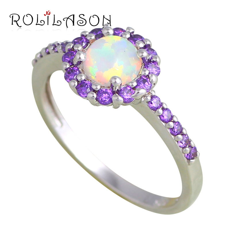 d0f65a1153 ROLILASON Delicate Rings for Women White Fire Opal Silver Wedding Fashion  Jewelry Rings USA  6 7 8 9 10 OR848