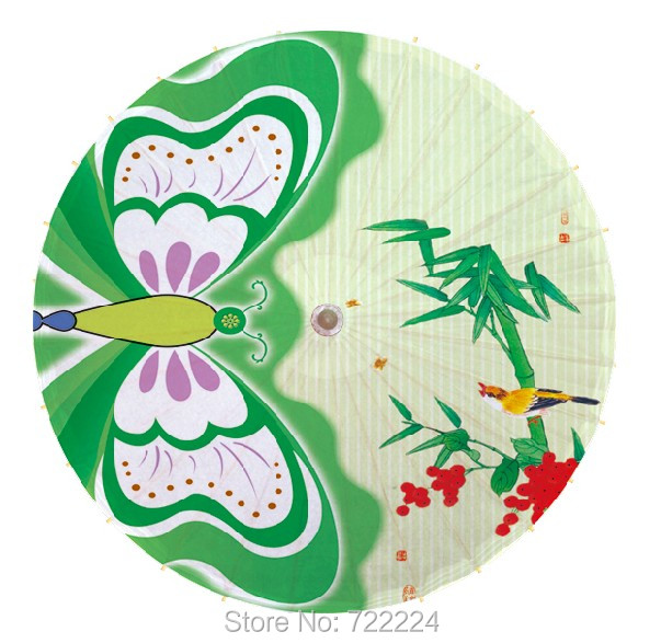 Colorful butterfly and bamboo picture Chinease Craft Classical handmade Parasol Decoration Gift Dance Props Oiled Paper Umbrella