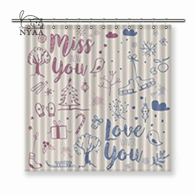Nyaa Winter Season Doodle Freehand Drawings Greeting with Sign Love you and Miss you. Polyester Fabric Shower Curtains