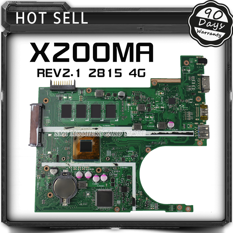 Free shipping Original Laptop motherboard FOR ASUS X200MA K200MA F200MA mainboard With N2815 CPU Integrated fully test laptop motherboard for asus x502ca x402ca rev2 1 with 1007 cpu fully teated mainboard 60nb00i0 mb5080 mb 8 memory