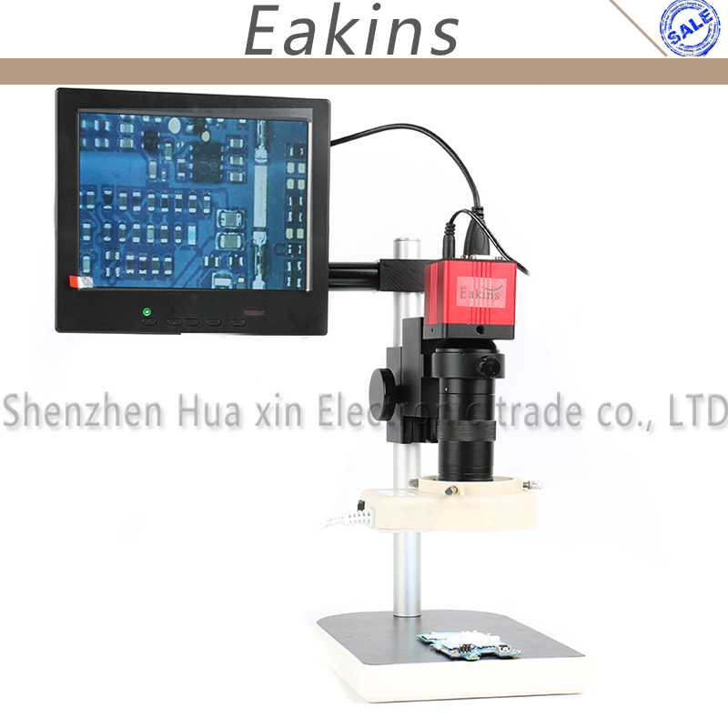 1080P 60F/S HDMI VGA Industry Video Microscope Camera Set +Stand+100X C-mount Lens+56 LED Light+8 LCD For Phone Tablet Repair 13mp 1080p hdmi vga industry video microscope camera set 100x c mount lens 56 led ring light stand holder for phone pcb repair