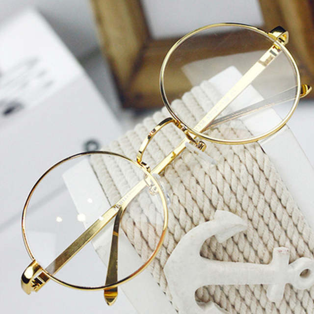 40e938299c Retro Full Rim Gold Eyeglass Frame Glasses Frame Vintage Spectacles Round  Computer Glasses Unisex NO Degrees