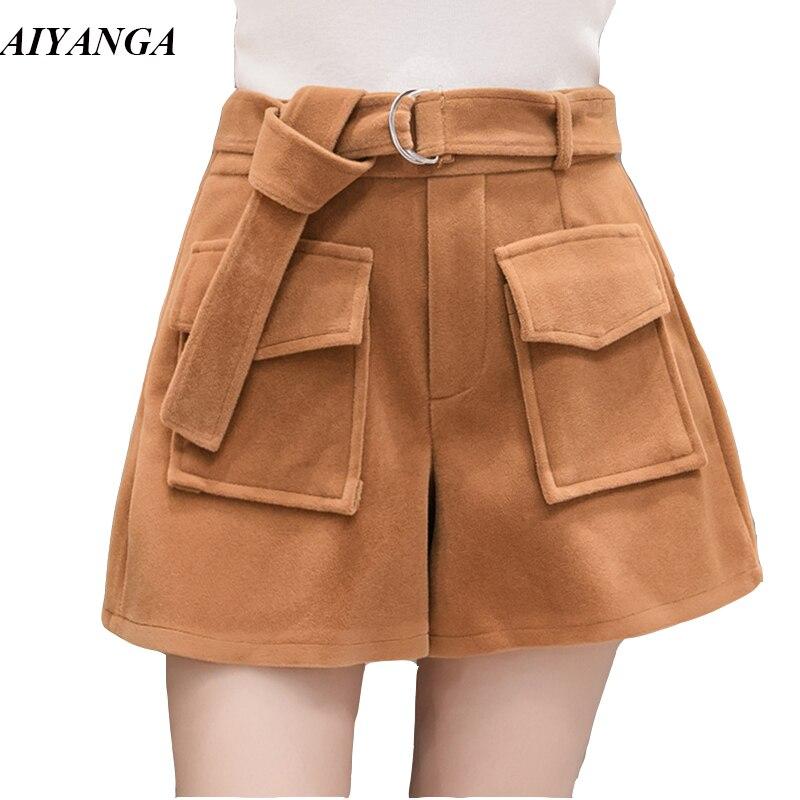 Warm Woolen Shorts For Women Autumn Winter Shorts Women High Waist Shorts With Sashes Pockets Khaki Black Casual Fashion 2018