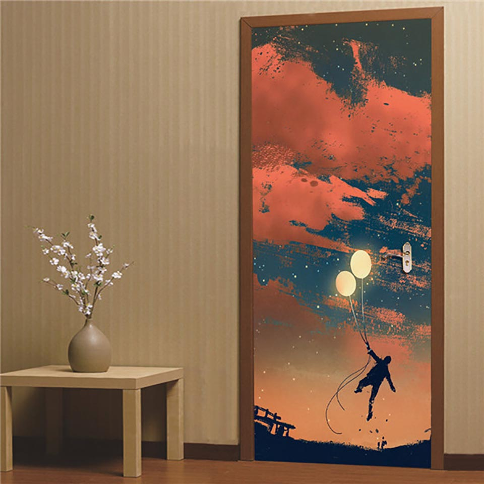 Sticker On The Door Self Adhesive Scenic Forest Wallpaper Diy Print Picture Wall Art Home Decor Mural Wardrobe Renovation Decal