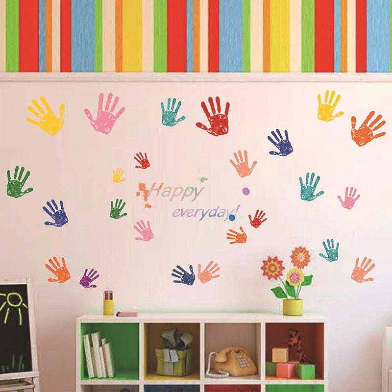 Aliexpress.com : Buy Little Big Hand Print Wall Sticker Happy Every ...