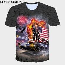 PLstar Cosmos 2017 summer new Fashion t shirt Funny character USA presidential Donald Trump 3D print Men Women casual T-Shirt