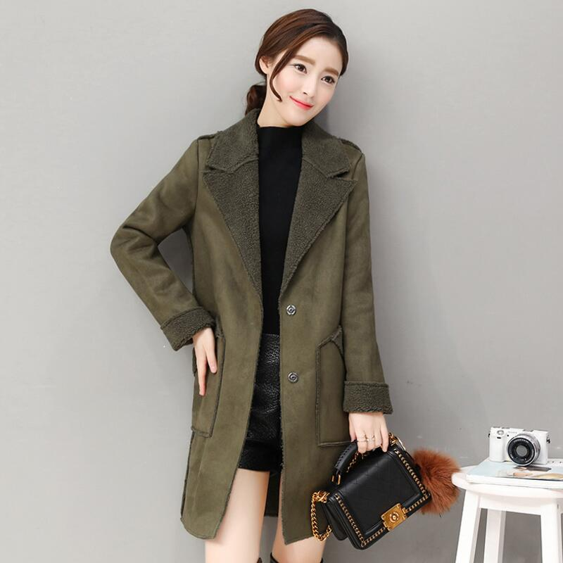 MSAISS Fall 2017 deer suede lambs wool coat bigger sizes with thick cotton-padded clothes long coat female deer velvet