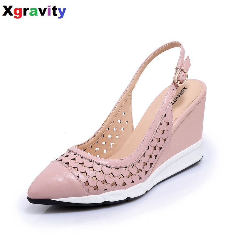 Hot 2018 Summer Genuine Leather Shoes Elegant High Heel Closed Toe Dress Shoes Comfort Women's Sandals Sexy Wedge Shoes B270 nayiduyun women genuine leather wedge high heel pumps platform creepers round toe slip on casual shoes boots wedge sneakers