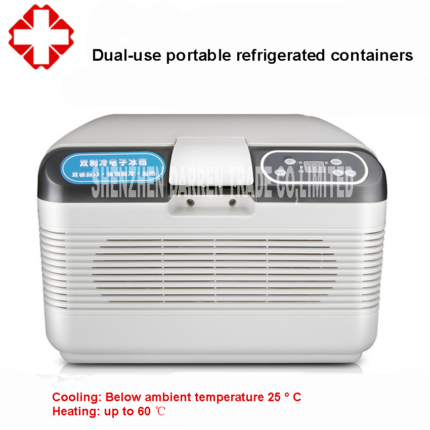 AC220V DC12V 12L Portable Drug Thermoelectric Cooling Sperm & Nursery Pig/Rabbit/Mouse Temperate Box Cold Box Car Refrigerator
