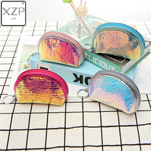 XZP Shell Laser Mermaid Transparent Coin Purse Pvc Key Money Mini Wallet for Women Kids Boys Girls Zipper Card Coin Storage Bags стоимость