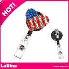 Rhinestone Patriotic Heart ID badge -Fourth of July Flag Nurse ID Badge - Retractable Badge Reel - Badge Holder - teacher badge