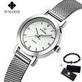 Женские кварцевые часы WWOOR  модные тонкие наручные часы для женщин