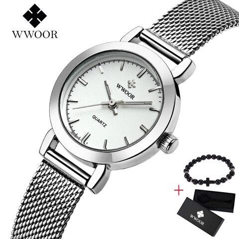 Moda de Luxo da Marca Relógio de Quartzo Relógio de Pulso Wwoor Mulheres Criativo Fina Senhoras Relógio Feminino Montre Femme