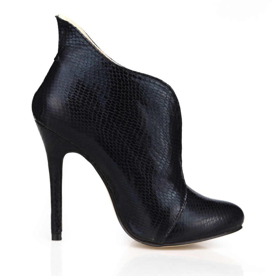 """Chmile Châu Rắn Đen Gợi Cảm Đảng Giày Nữ Mũi Tròn Đế Giày Cao Gót Đơn Giản Nữ Mắt Cá Chân Giày Zapatos Mujer """"0640CBT-i3"""