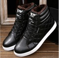 Envío libre! 2016 Nuevo Invierno de Los Hombres Ocasionales Zapatos con cordones Respirable Plana de Alta Superior Caliente, Además de Terciopelo Zapatos de Cuero genuino