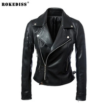 ROKEDISS 2017 New Fashion Spring Autumn Women Long Sleeve Coat Zipper Design Motorcycle PU Jacket X021
