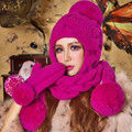 Rose Red Beanie Scarf & Gloves Handmade Winter Warm Thick Knitted Hat Caps Christmas Gift