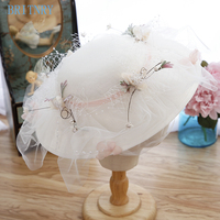 BRITNRY Real Photos Wedding Hats Beach Style Tulle Pearls Wedding Fascinators and Hats Vintage Flower Hat