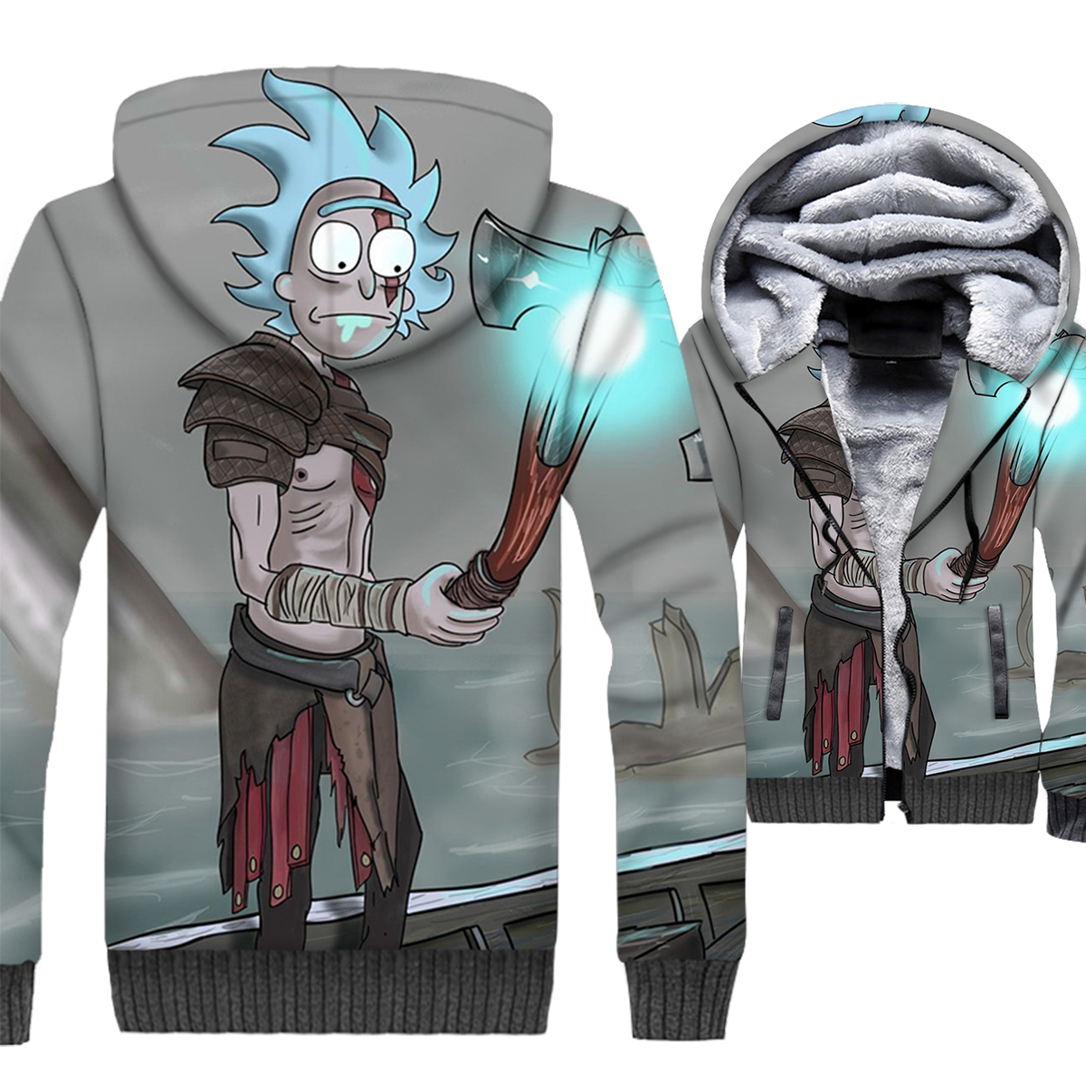 rick and morty jackets for men hispter 3D Printing tracksuits 2019 winter hip-hop brand clothes casual wool liner coats male top