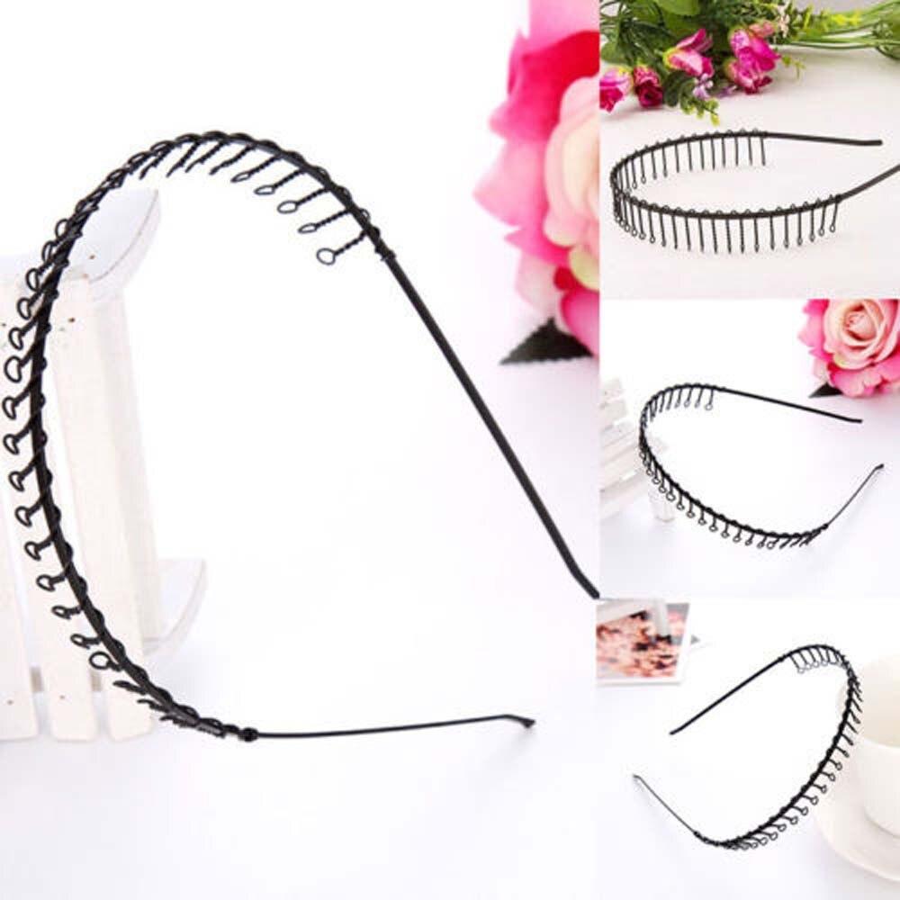 Cheap Sale Saf-new Practical Hairstyle 2 Pcs Metal Black Slim Headband Hair Hoop W Teeth Apparel Accessories