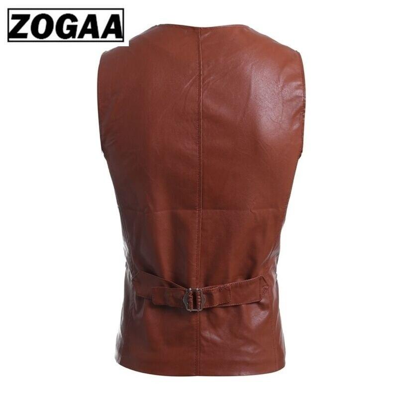 Zogaa Men's Slim Vest Sleeveless Jacket Casual Pu Leather Vests Button Open V Neck Geek Simple Joker Slim Fit Vest Men