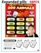 2017 Nova Magic Soft EVA Otroške Kognicije Igrače Zgodnje Izobraževalne Igrače Otroške risanka dinozavrov Igrače Kopalna Igrača Grow kapsula 4set (48PCS)