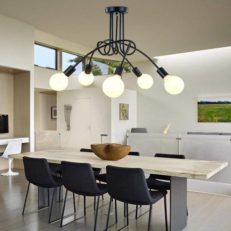 US $26.25 25% OFF|Moderne Führte Deckenleuchten Leuchte E27 3/5 Köpfe Licht  Deckenleuchte Wohnzimmer Schwarz Farbe Lampen Lustre Abajur Luminaria-in ...
