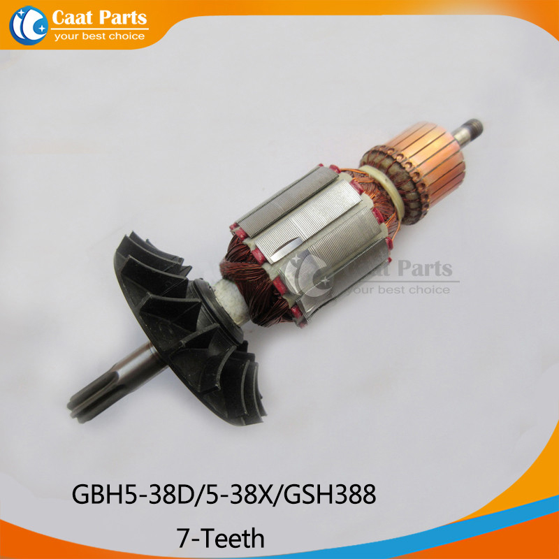 AC 220V 7-Teeth Drive Shaft Electric Hammer Armature Rotor for Bosch GBH5-38D/5-38X/GSH388, High-quality! Free shipping! free shipping replacement hammer intermediate shaft spline shaft for bosch gbh2 24 gbh4dfe gbh4dsc hammer accessories
