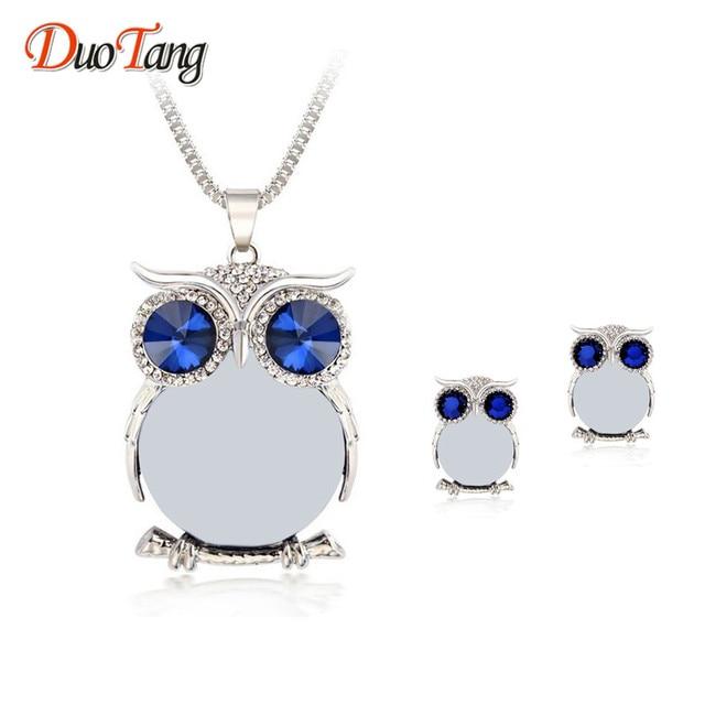 DuoTang Rhinestone Crystal Owl Jewellery Set