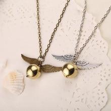 Золотой снитч ожерелье Квиддич летающий шар античная бронза серебряное крыло кулон стимпанк Винтаж фильм ювелирные изделия для мужчин и женщин