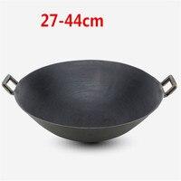 Dupla orelha de ferro fundido wok panela cozimento nenhum revestimento não vara clássica acampamento ao ar livre chinês fogão a gás panelas wok pan fritar|Woks|   -