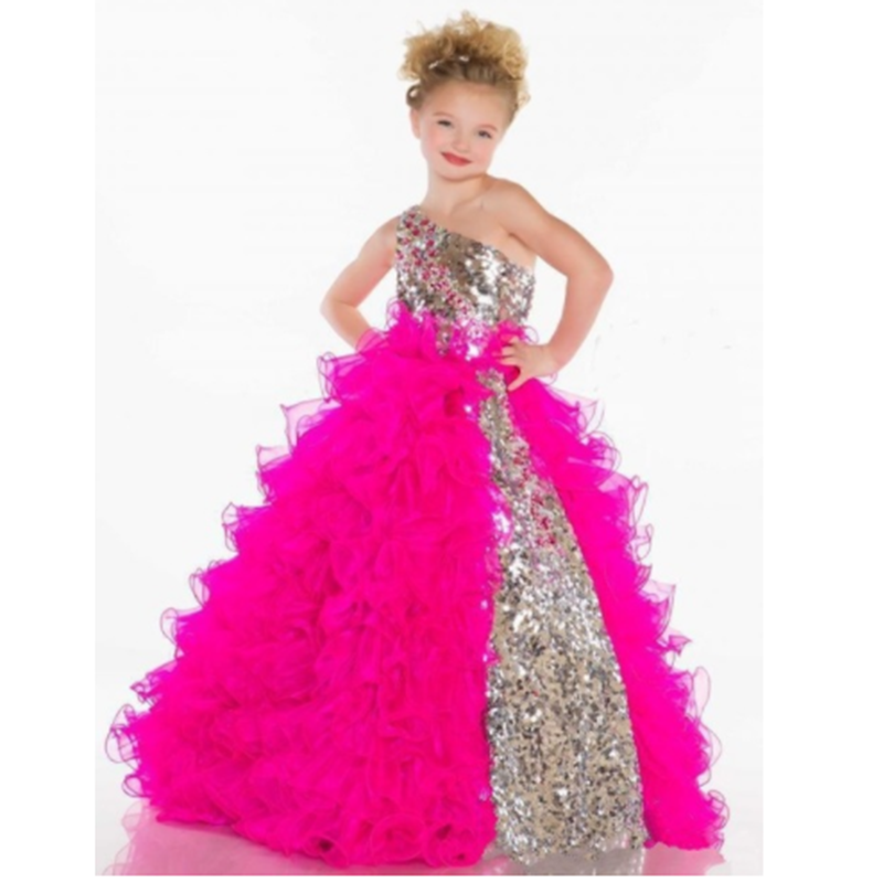 Cute Princess One Shoulder Sequins Pleat Organza Fuchsia Ball Gowns Flower Girl Pageant Ankle Length Baptism Party Dress