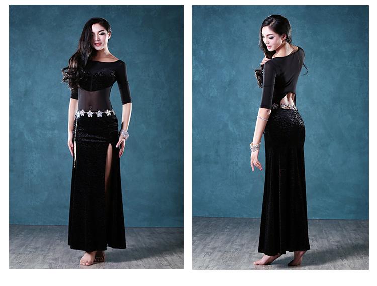 2018 New Sexy Women Bollywood Dance Costumes 2Pcs(Dress Waist Chain ... 4b4bad3b537b