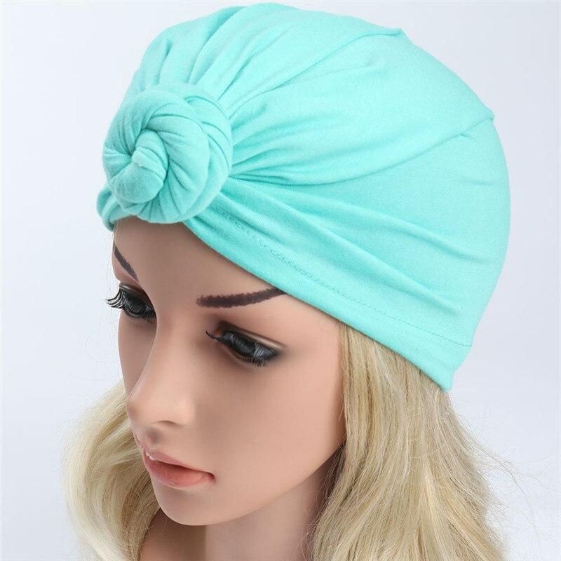 ON SALE 1PCS Women Hat Turban Muslim Caps Head Wear Skullies Knot Wrap India Hats Beanies Gorro Bonnet Bandana Hair Cover