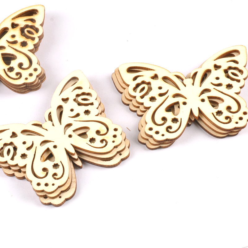 10pcs Wooden Crafts Creativity Hollow Out Butterfly Pattern Scrapbooking Crafts Wood Decoration For Home Decoration M2128