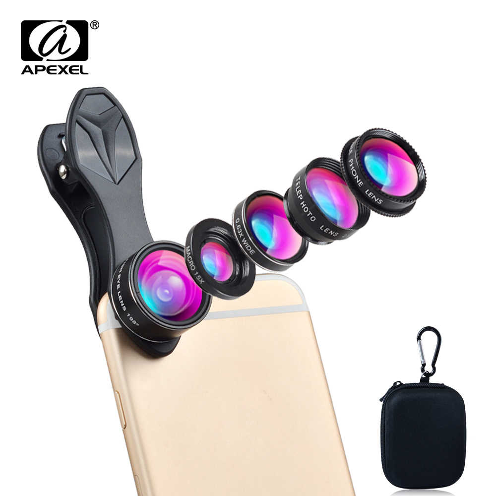 Universal clip 5 in 1 0.63X Wide Angle+Macro+FishEye+2X Telephoto +CPL lens Camera Lens lente para for iPhone 6 plus xiaomi DG5H