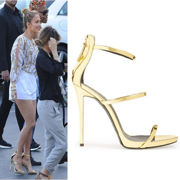 ФОТО Hot Selling Gold Leather Ankle Strap Sandals Summer Sexy Open Toe Woman Sandals Celebrity High Heel Sandals Free Ship